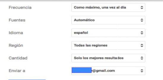 Aspectos que debes modificar al configurar tus alertas con tu correo de gmail.