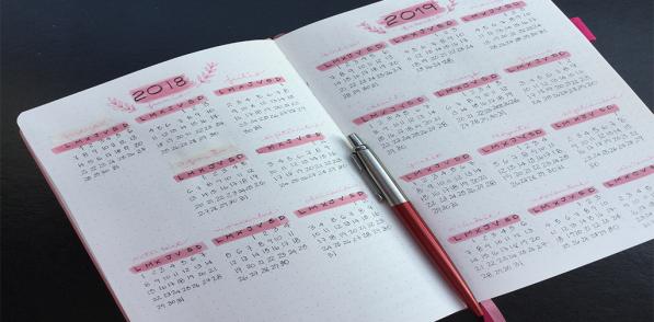 Modelo de calendario cuando comienzas Bullet Journal desde cero.