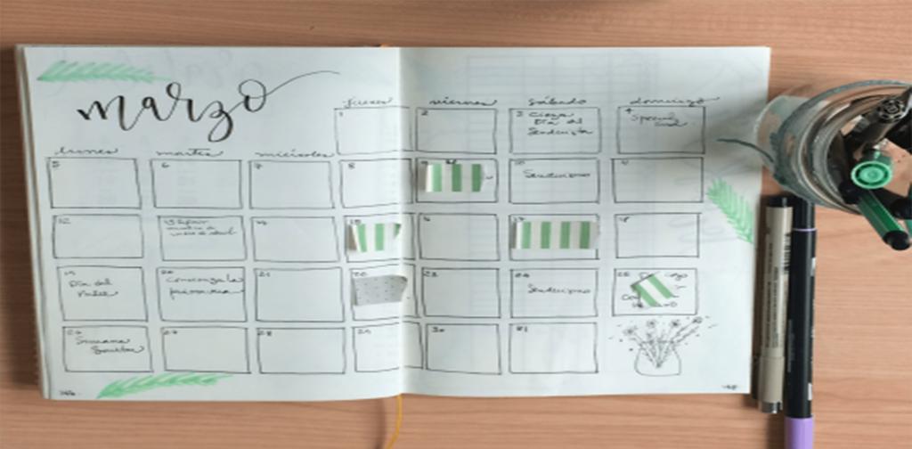 Ejemplo de calendario en registro mensual en agenda Bullet Journal