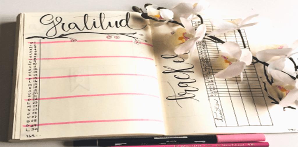 Ejemplo de Gratitud o Agradecimiento en Bullet Journal.