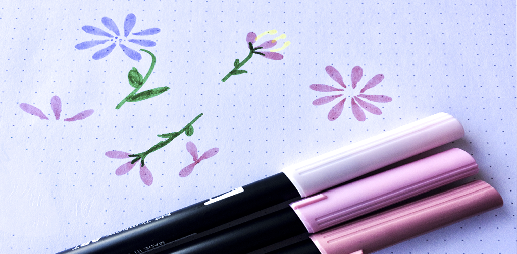 Flores hechas con rotulador Tombow Dual Brush