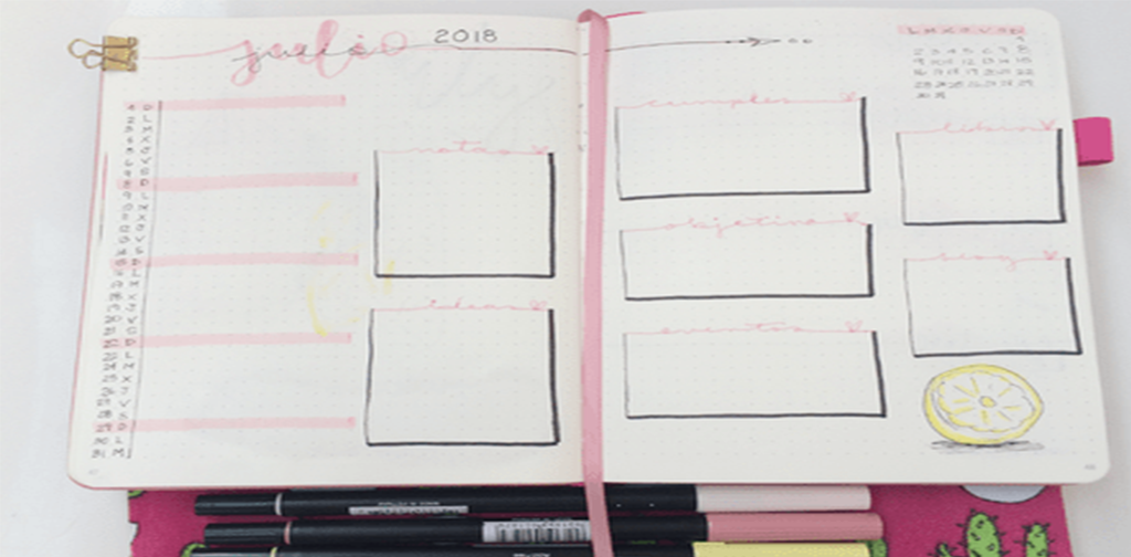 Registro mensual julio Bullet Journal