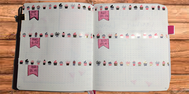 Registro diario para Bullet Journal agosto