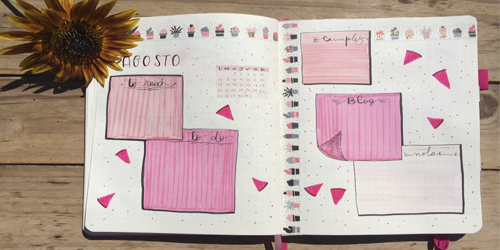 Registro mensual para Bullet Journal agosto.