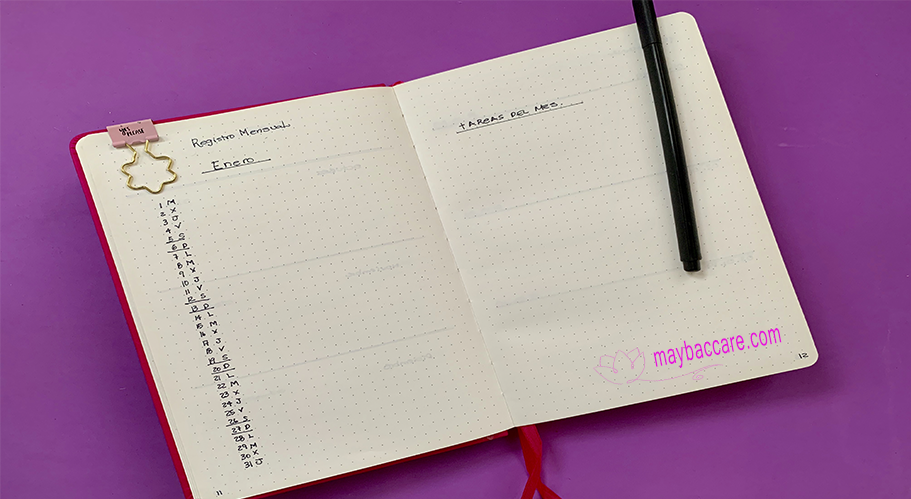 Registro mensual en Bullet Journal