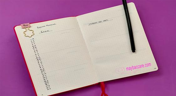 Registro mensual en Bullet Journal