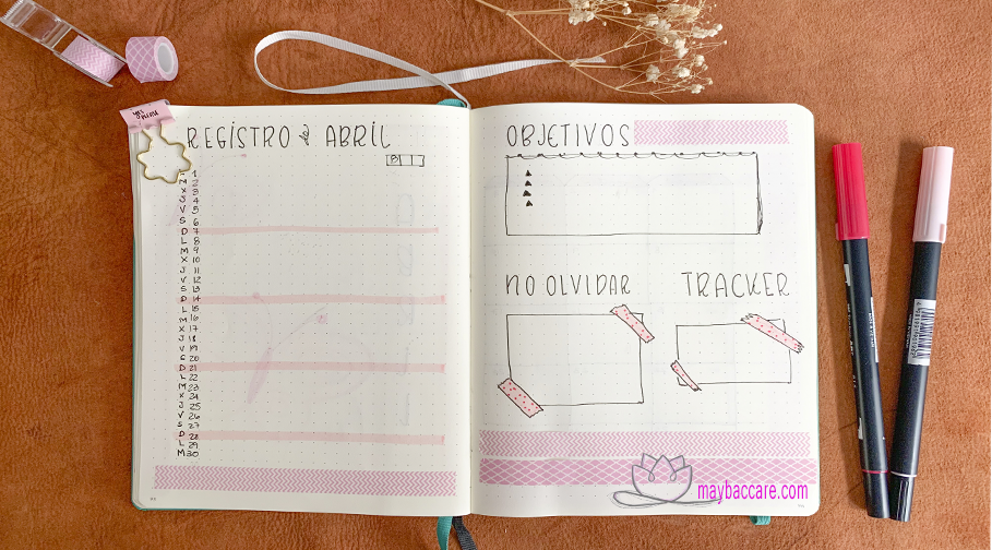 registro mensual bullet journal abril