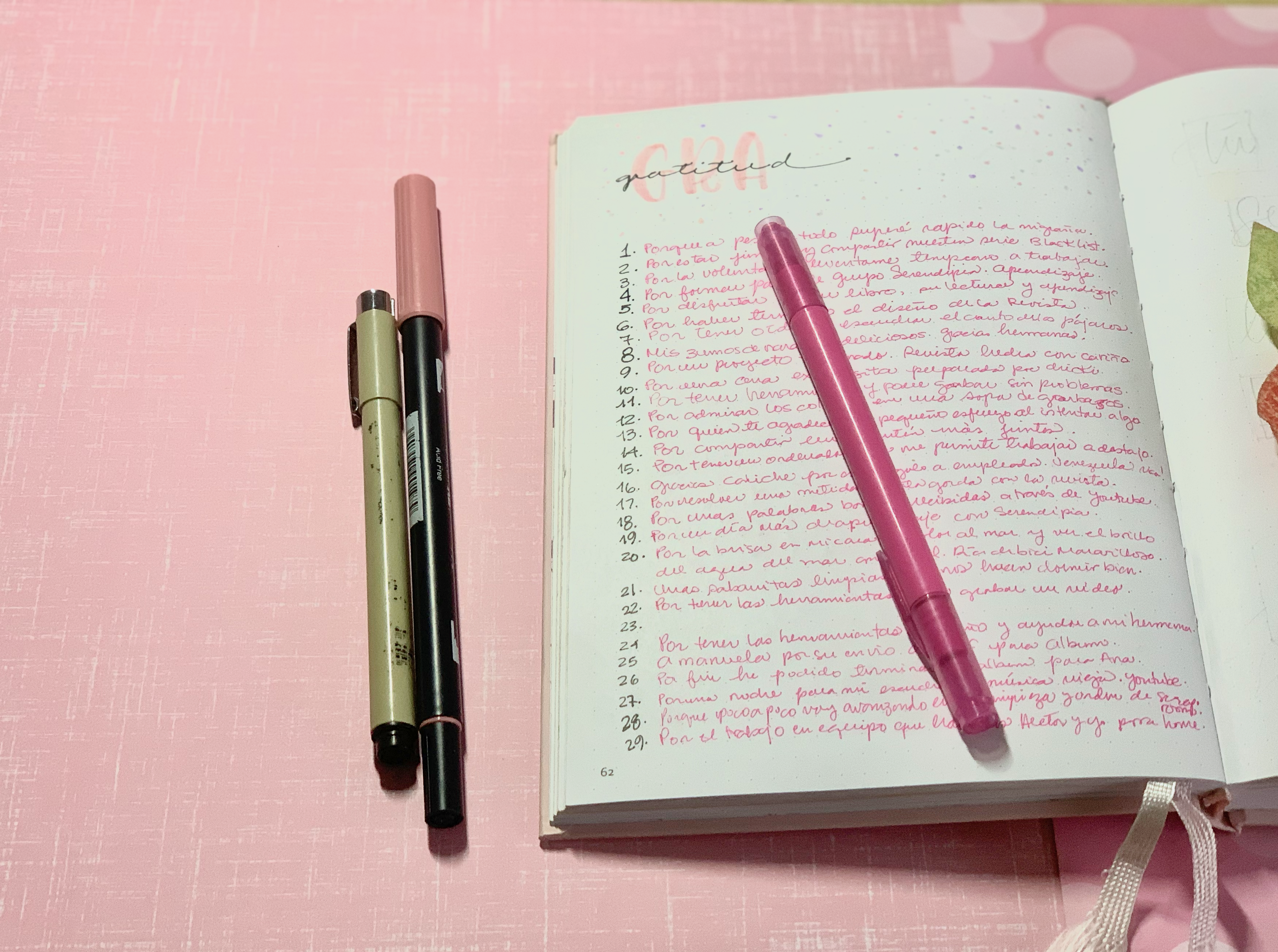 gratitud en bullet journal